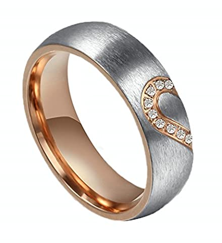 Womens Wedding Rose Gold Bands Heart Puzzle Stainless Steel Rhinestone Engagement Rings 6MM by (Elegant Music Rings)