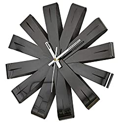Wall Clock NLIAN- 33cm Ribbon, Stainless Steel Easy to Clean Curved Black Ribbon Design As Wall Decor Accenting an Empty Wall for Living Room Restaurant