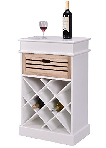 K&A Company Wine Rack Display Wood Storage Shelves Bottle Holder Kitchen Bottles Shelf Tier Decor 12 Stackable Bar New Cabinet White