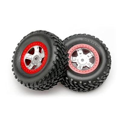 Traxxas 7073A 1/16th Scale SCT Off-Road Racing Tires Pre-Glued on Red Beadlock-Style, Satin Chrome Wheels (pair): Toys & Games