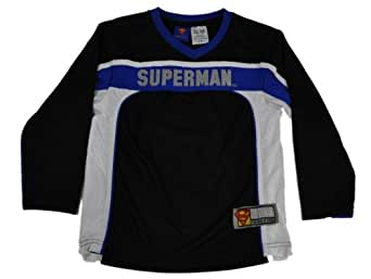 "Superman Long Sleeve Sports inspired Jersey w/ embroidered ""Superman"" in Front in Black Size: 14/16"