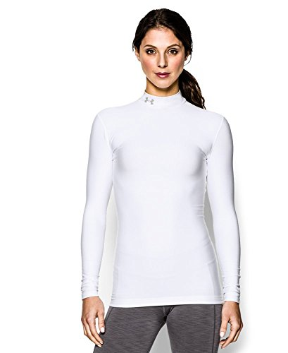 Under Armour Women's ColdGear Compression Mock, White/Silver, Large