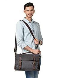 Kattee Canvas Genuine Leather Laptop Messenger Shoulder Bag (Dark Grey)