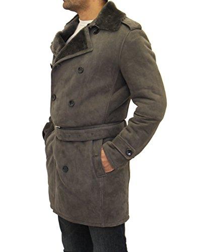 Grau Avec Breasted Luxueux Hiver Hommes Ceinture Mit Double Coat Shearling Mouton K4wqzAFfz