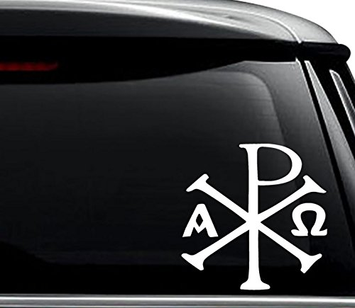 Chi Ro PX Christian Cross Decal Sticker For Use On Laptop, Helmet, Car, Truck, Motorcycle, Windows, Bumper, Wall, and Decor Size- [6 inch] / [15 cm] Tall / Color- Gloss White -  N&N Stickers, PWS1499-06WH
