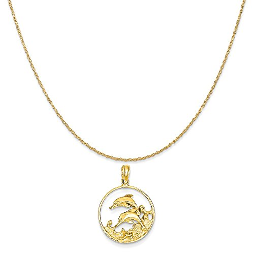 (Mireval 14k Yellow Gold Double Dolphin Circle Pendant on a 14K Yellow Gold Rope Chain Necklace, 20