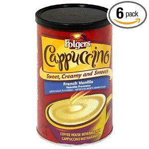 Folgers Cappuccino French Vanilla Beverage Mix Canisters 16OZ (Pack of 18) by Folgers