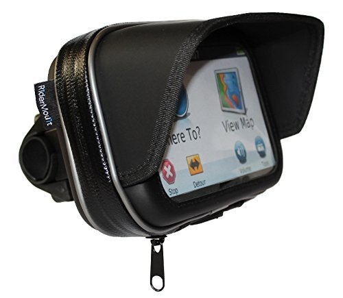 "RiderMount Waterproof Sunshade 5"" GPS Satnav Case with Motorcycle Motorbike Handlebar Mount for Garmin Nuvi Tomtom Go Start 5 inch"