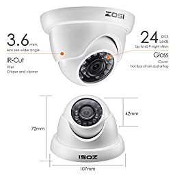 ZOSI 8-Channel 720P Security System 1080N Video DVR with 1TB Hard Disk Built-in and (8) 1.0MP 1280TVL Weatherproof Cameras with IR-cut Night Vision LEDs