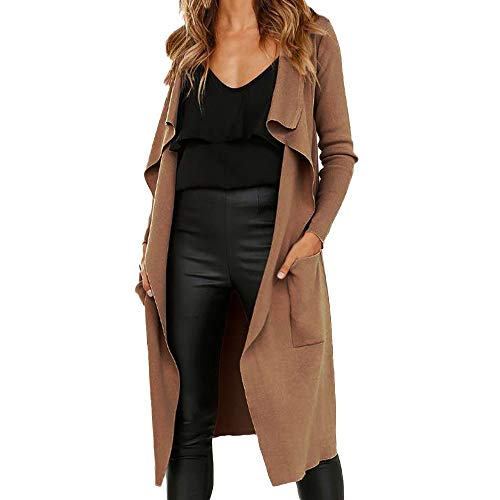 Clearance Sale ! Kshion Women's Fashion Long Sleeve Lapel Faux Suede Open Front Cardigan Suit Pocket Jacket Solid Long Coat (Coffee, M)