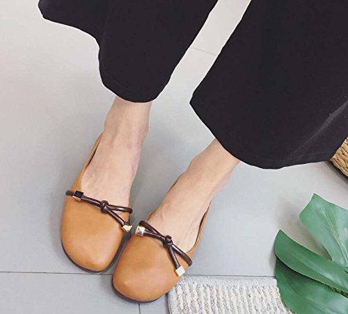 Driving Women Bowknot Color Flats Ballerina Eu Shoes Dark Round Mary Janes Simple Casual 34 Shoes Court Brown 39 Size Shoes Toe Pump Pure AvPxFIqq