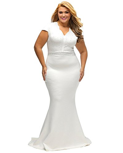 9a00987cfc ... Women Short Sleeve Rhinestone Plus Size Long Party Prom Dress Size 3XL  (White).   
