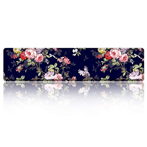 iLeadon Keyboard Wrist Rest Pad, Ergonomic Wrist Support with High Density Memory Foam & Stitched Edges, 16.5 x 3.5-inch 1.8cm Thick for Gaming Working Typing Wrist Pain Pressure Ease, Navy Blue Rose