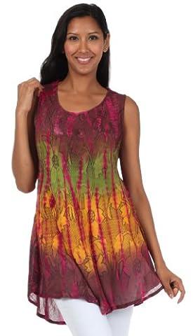 Sakkas 40831 Ombre Floral Tie Dye Flared Hem Sleeveless Cotton Tunic Blouse - Fuchsia / One Size (Sakkas 3x)