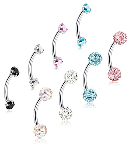 ORAZIO 8Pcs 16G Stainless Steel Eyebrow Ear Navel Belly Lip Ring Body Piercing Jewelry 8mm ()