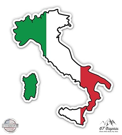 Map Of Italy Simple.Amazon Com Italy Map Flag Country Shape Vinyl Sticker Waterproof