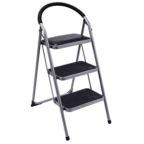 Ginatex Non-slip 3 Step Ladder Lightweight Folding Stool Platform Heavy Duty Industrial (3 Step) by Giantex