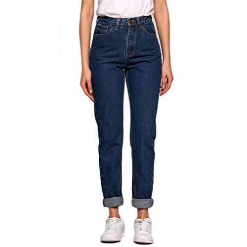 Nuovo sottile matita Vintage pantaloni a vita alta Jeans nuove donne allentati i Pantaloni Pantaloni da cowboy Blu