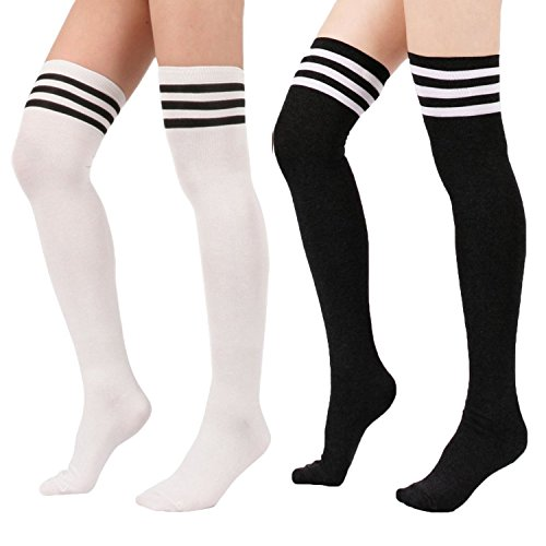 Zando 1-3 Pairs Tube Triple Stripe Cotton Fashion Socks for Women Cute Comfortable Thigh-High Over Knee Stocking 2 Pack White Black One Size