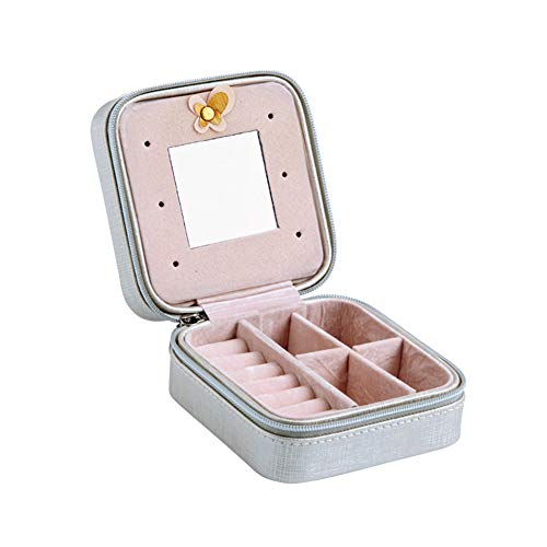 soAR9opeoF Women Portable Faux Leather Travel Jewelry Storage Box Organizer Display Wedding Party Holder Case Silver (Daisy Mirror)