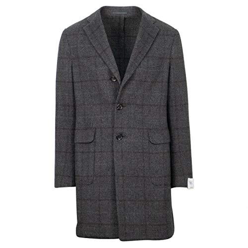 Caruso Men's Plaid Cashmere Loro Piana Fabric Top Coat 48/ R 38 Gray ()