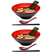 "2 Sets (6 Piece) 1500 milliliters Large Japanese Ramen Noodle Soup Bowl Dishware Ramen Bowl Set with Matching Spoon and Chopsticks for Udon Soba Pho Asian Noodles (2, Red, 8.6"")"