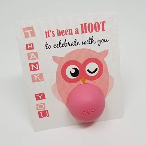 Owl Baby Shower Lip Balm Holder Favor Tags - Girl Baby ShowerTags - EOS Lip Balm Holder Tags - Set of -