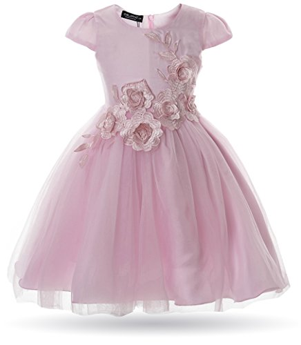 (CIELARKO Girl Dress Kids Flower Appliques Tulle Wedding Party Birthday Dresses for 2-10 Years (3-4 Years, Pink))
