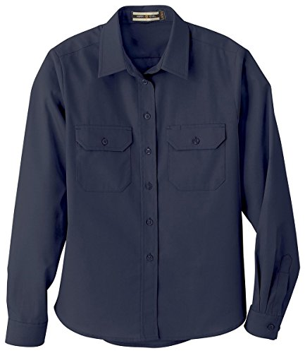 Ladies North End - North End 77701 Ladies Soil Release Long Sleeve Broadcloth Button Down Shirt Drill Navy XL