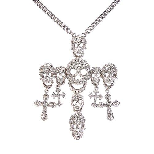 EVER FAITH Posh Skull Cross Austrian Crystal Clear Pendant Necklace (Pendant Cross Austrian)