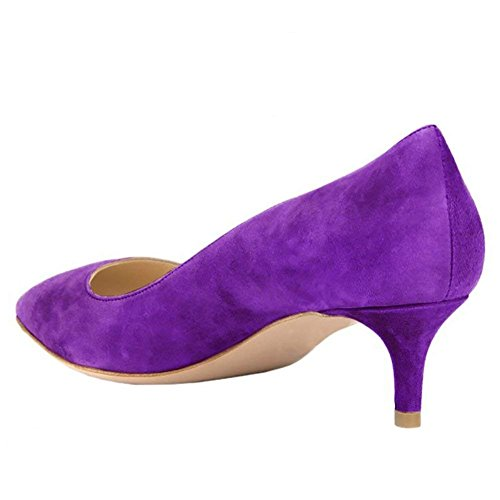 Caitlin Pan Femmes Escarpins Bout Pointu 65MM Talon de Chaton Cuir Verni Robe Fête Travail Chaussures Daim Pourpre/Semelle Rouge upwgrIgPX