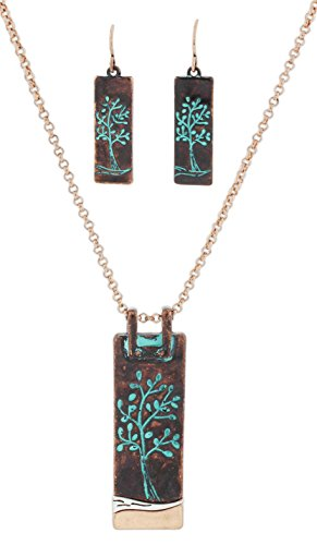 Rain Necklace and Earring Set Copper-Tone Patina Etched Tree Pendant ()