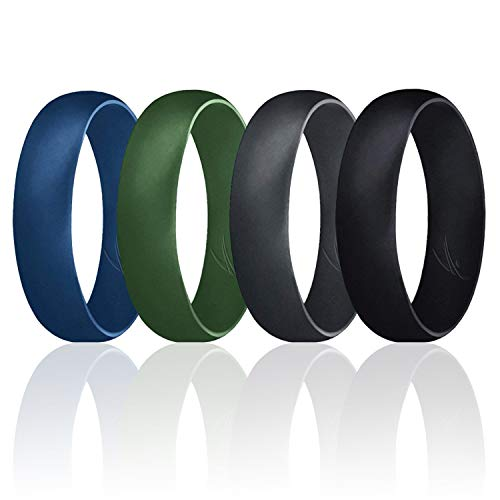 ROQ Silicone Wedding Ring for Men, Set of 4 Affordable Comfort Fit 6mm Manly Metallic Silicone Rubber Wedding Bands - Black, Olive, Blue, Grey- Size 7