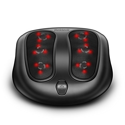Nekteck Foot Massager with Heat, Shiatsu Heated Elecric Keading Foot Massager Machine for Planter Fasciitis, Built in Infrared Heat Function and Power Cord - Black