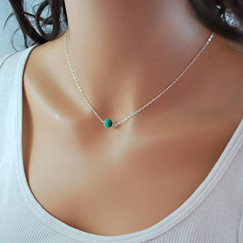 (Sterling Silver Turquoise Choker Necklace, Handmade with Dainty Real Turquoise for Women or)