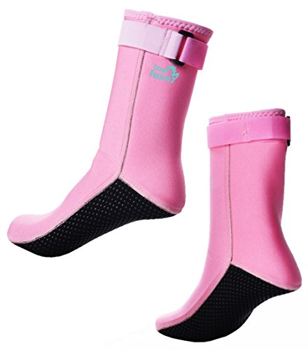Ocean Passion 4mm Premium Neoprene Fin Socks - for Diving, Swimming, Snorkeling, Beach Sports, Surfing (Pale Pink, - Pink Swim Fins