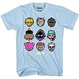 Fortnite Loot Chibi Heads Boys Short Sleeve T-Shirt (Light Blue,Large)