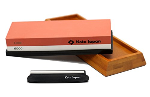 Kota Japan 1000-grit Coarse Side and 6000-grit Polishing Side Knife Sharpening Whetstone with Bamboo Base and Blade Guide ()