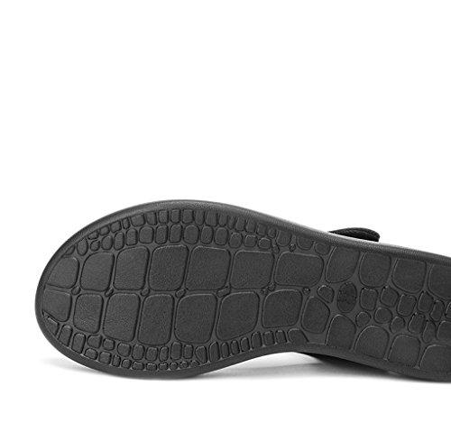 DHG 37 Mujer de bajo Altos Sandalias de de Color Ocasionales Zapatillas Dulces de Tacones Verano Tacón Sólido Punta Moda de Negro Sandalias Sandalias de Planas rpXSYr