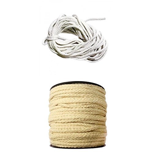 Homyl 2 Pieces 100% COTTON PIPING CORD ROPE UPHOLSTERY CUSHIONS EDGING TRIMMING CRAFT 10mx5mm Bleached White & 50mx4mm Natural White Rope