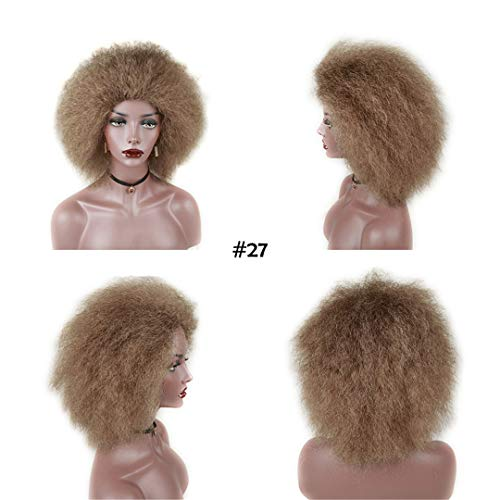 Short Hair Wig Afro Kinky Curly Coco Low Temperature Synthetic Wigs For Women Cosplay Hair Classic Trendy Fake Hair Wigs #27 8inches