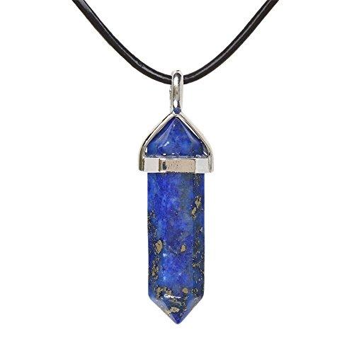 Natural Blue Lapis Gemstone Hexagonal Pointed Reiki Chakra Pendant Genuine Leather Necklace 18