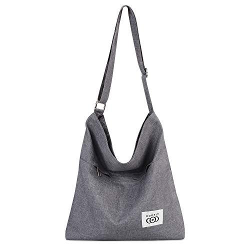 Canvas Bag, COOFIT Womens Canvas Hobo Bag Large Capacity Top Handle Tote Bag Crossbody Bag Shoulder Bag Purse (Light Grey-Zipper)