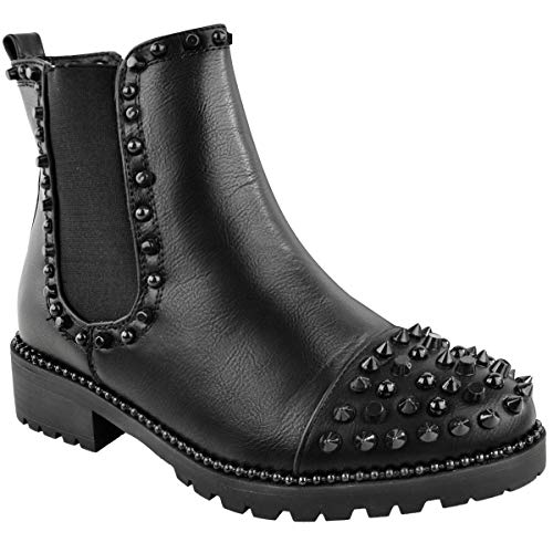 (Fashion Thirsty Womens Low Spike Studded Chunky Ankle Boots Biker Goth Punk Grunge Size 10)