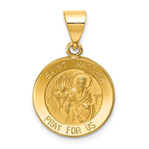 14k Yellow Gold Saint Matthew Medal Pendant Charm Necklace Religious Patron St Fine Jewelry Gifts For Women For Her