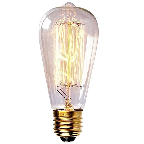 Vintage Edison Light Bulbs 60W Antique Filament Incandescent Bulbs E26 Base ST64 Type 120V Bulb for Home Lighting Fixtures Dim Warm Light 3000K,1PACK