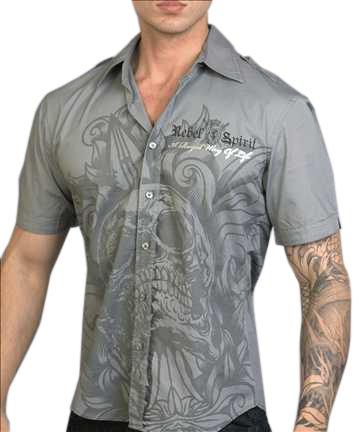 Rebel Spirit Skull Shirt (Gray)