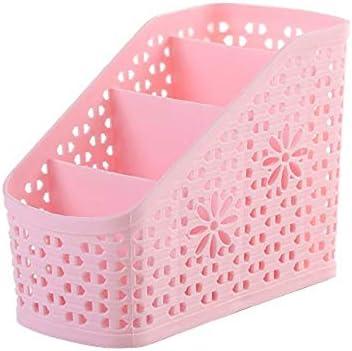 Multifunktionaler Desktop-Organizer, ordentlicher DIY-Schreibtischschrank mit 4 Gittern, Platz für Stifte, Kosmetika und andere kleine Gegenstände (14,5 * 11,5 * 8,5 cm, pink)