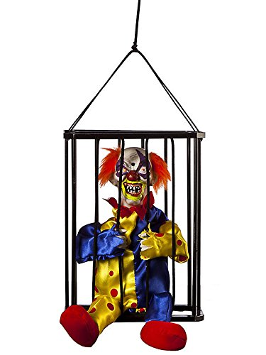 Animated Caged Clown Halloween Decor