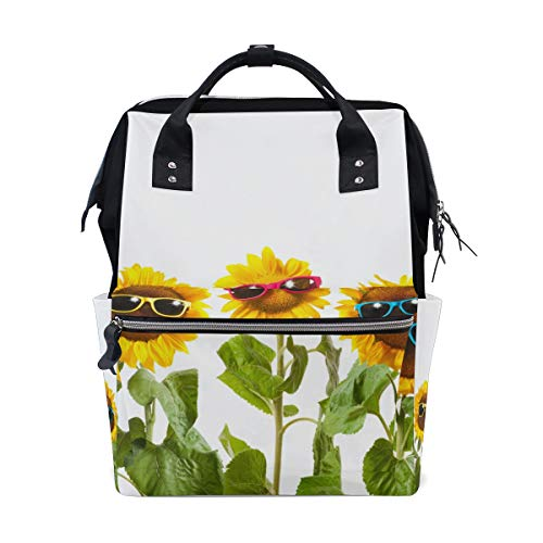 - ColourLife Diaper Bag Backpack Sunflowers with Sunglasses On White Casual Daypack Multi-Functional Nappy Bags